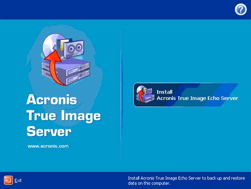 The Initial install screen of the Acronis True Image Echo Server. acronis t