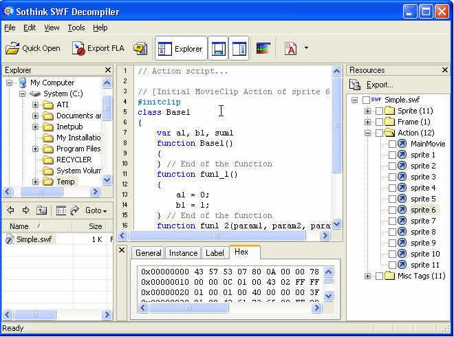 Sothink SWF Decompiler - программа декомпиляции флэш фильмов.